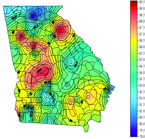 Map Of Cairo Georgia.Georgia Weather Automated Environmental Monitoring Network Page